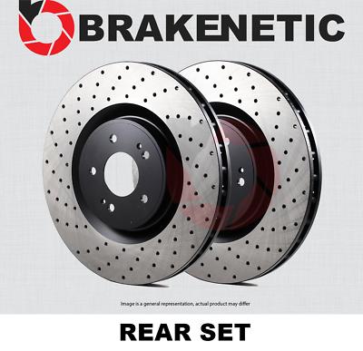 BRAKENETIC PREMIUM Cross DRILLED Brake Disc Rotors BNP33125.CD REAR SET
