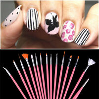 15 Pcs Drawing Dotting Painting Pen Pink Nail Art Gel Acrylic Polish Brush Set
