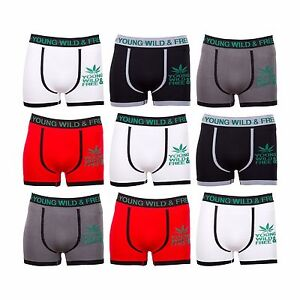 Pack of 6 Men/'s Ultra Stretch Fit /'YOUNG /& WILD/' Weed Boxer Trunks Shorts