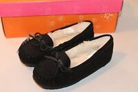 Sonoma Girl Size 12 Black Tabi Slippers Moccasins House Shoes W/ Faux Fur