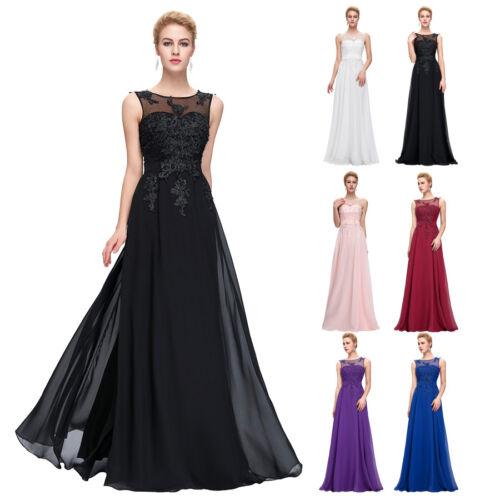 Womens Bridemaid V-Back Chiffon Ball Gown Prom Party Evening Maxi Dress UK 6~20