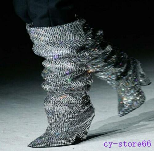 Occident Rhinestone Glitter Leather Embellished Casual Covered Knee High Boots