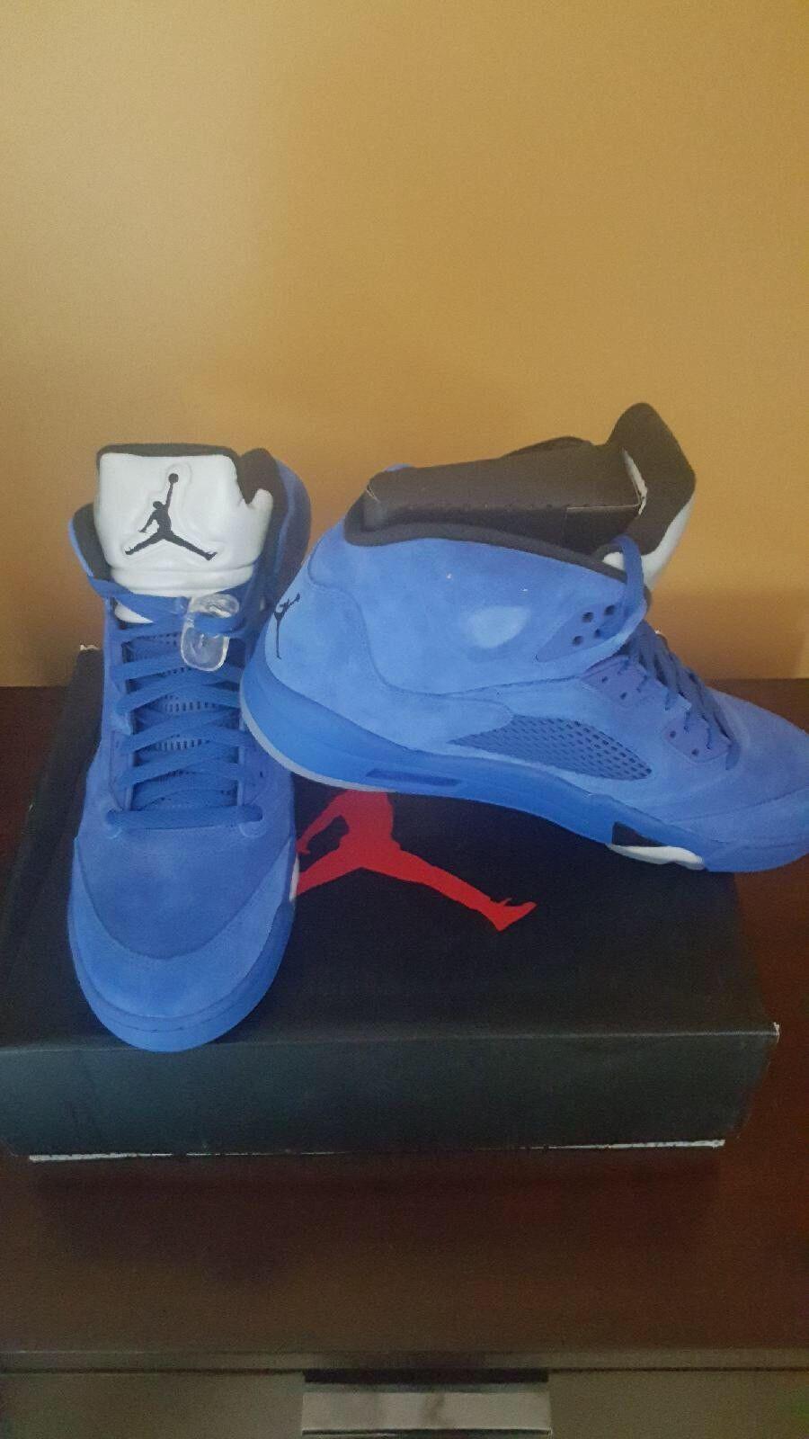 Nike Air Jordan Retro 5 bluee Suede Game Royal Black