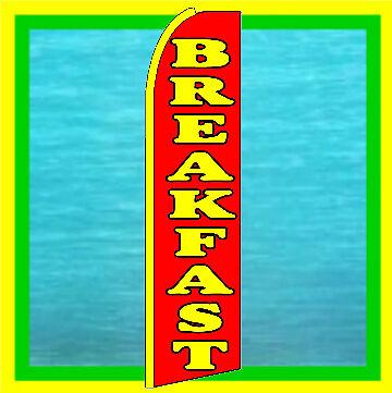 BREAKFAST SWOOPER FLAG Restaurant Advertising Feather Swooper Flutter Bow Banner