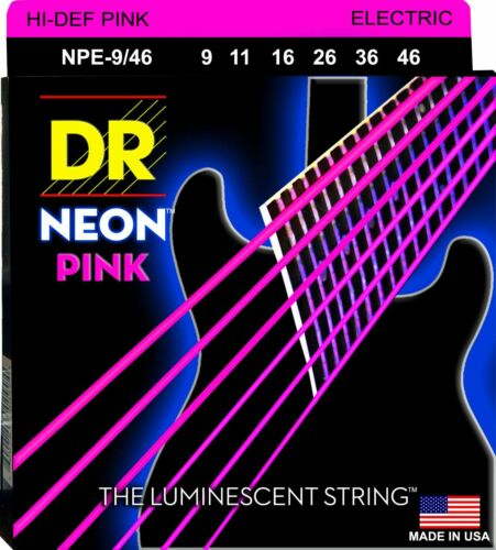 DR NPE-9//46 Neon PINK Electric Guitar Strings gauges 9-46