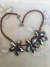 """Retro Glass Beaded Flower Necklace 20"""" Adjustable Pink Purple Shimmering Beads"""