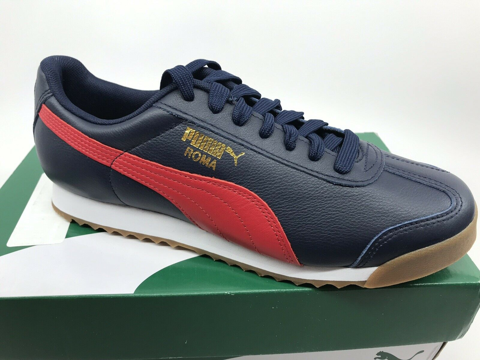 PUMA ROMA Mens CLASSIC GUM TRAINER PEACOAT RIBBON rot Navy Größe 9 NEW
