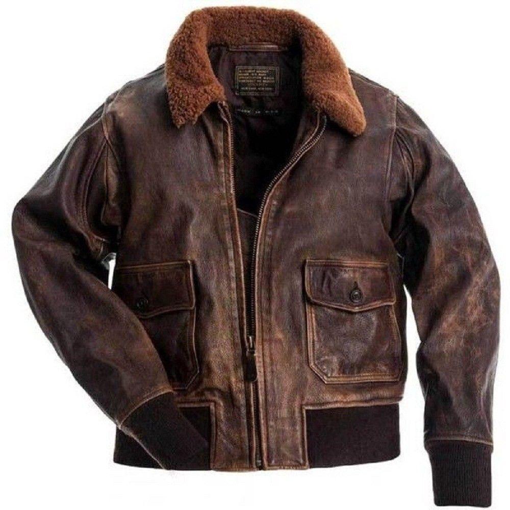 Aviator G-1 Flight Distressed braun Fur Collar Bomber Pilot Real Leather Jacket