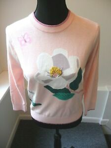 Kate-Spade-NWT-Broome-Street-Pale-Pink-Flower-Sweater-Size-Small-Retail-298