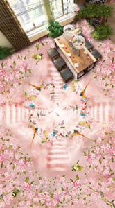 3D Pink Flower Bird 45 Floor WallPaper Murals Wall Print Decal AJ WALLPAPER US