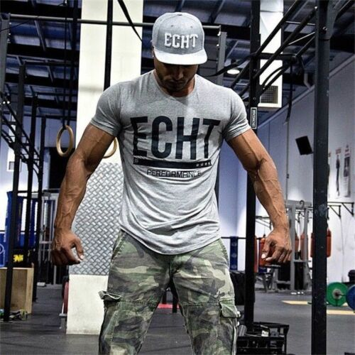 Men Bodybuilding T-Shirt Casual O-Neck Cotton Fitness Short Sleeve Gym Tees Tops