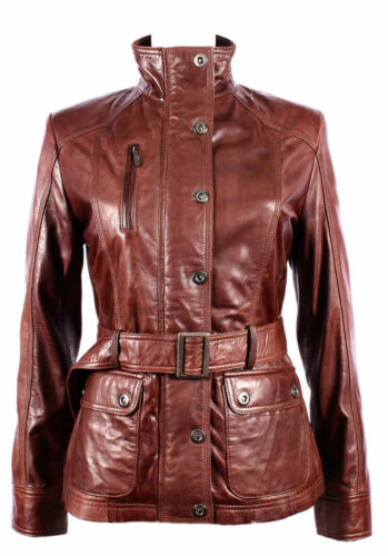 Tina Donna Nuovi Chestnut Brown Soft Rock colletto militare Slim fit Giacca in Pelle