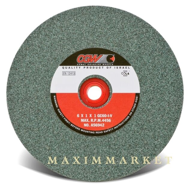 """CGW Grinding Wheel Green Silicon Carbide 6""""x1""""x1"""" Choice of grit 100, 80 or 60"""