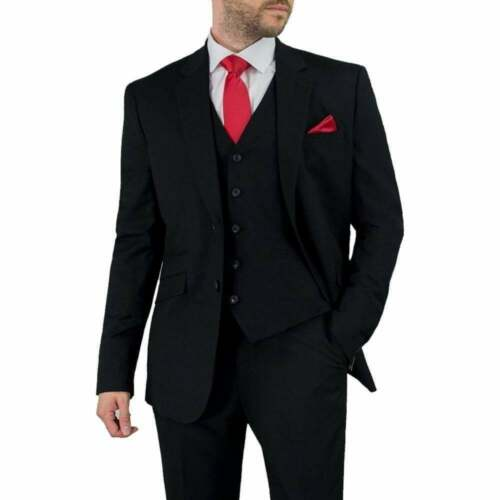 Wedding or Party Suit BNWT Cavani Mens Cruz Suit Black 3 Piece Work