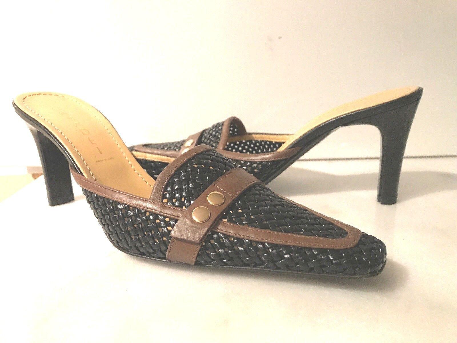 CASADEI PELLAME femmes noir WOVEN LEATHER MULES  HEELS chaussures 8 NIB