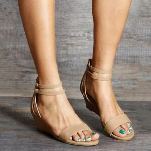 Summer-Women-Low-Heel-Wedges-Sandals-Buckle-Ankle-Strap-Casual-Open-Toe-Shoes-32