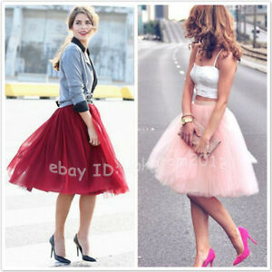ed6155ad919 7 Layers Summer Style Tulle Skirt High Waisted Women Tutu Maxi ...