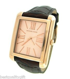 NEW-MICHAEL-KORS-BROWN-CROCODILE-EMBOSSED-LEATHER-amp-ROSE-GOLD-WATCH-MK2243