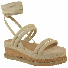 3196116c7 item 4 Womens Ladies Lace Up Ribbon Espadrilles Wedge Flatforms Flat  Sandals Shoes Size -Womens Ladies Lace Up Ribbon Espadrilles Wedge  Flatforms Flat ...