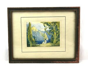Small-Antique-Early-1900s-Maxfield-Parrish-Art-Nouveau-Lithograph-Print