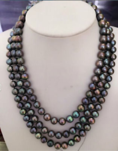 triple-strands-AAA-8-9mm-tahitian-black-pearl-necklace-18-034-19-034-20-034-14k-clasp