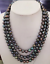 triple-strands-AAA-8-9mm-tahitian-black-pearl-necklace-18-034-19-034-20-034-14k-clasp thumbnail 1