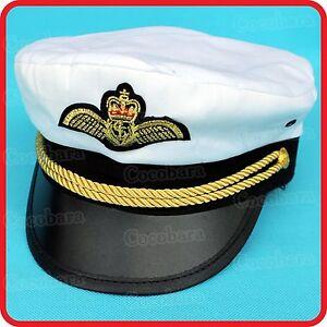 6f5519074 Details about WHITE CAPTAIN HAT-PILOT,AIR  FORCE,MILITARY,NAVY,YACHT,SKIPPER,SAILOR-COSTUME 5