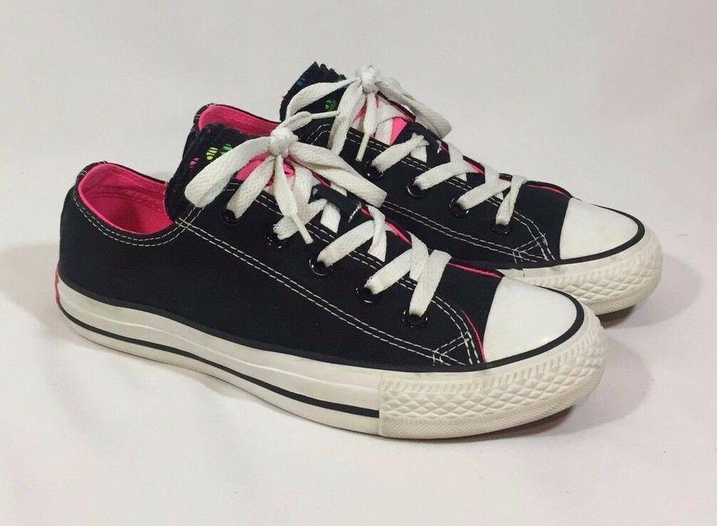 CONVERSE ALL STAR Womens 6 Black POLKA DOT Multi Tongue NEON PINK GREEN BLUE
