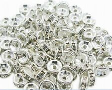 Charms 100Pcs Rondelle Silver Plated Metal With Crystal Spacer Bead 6mm