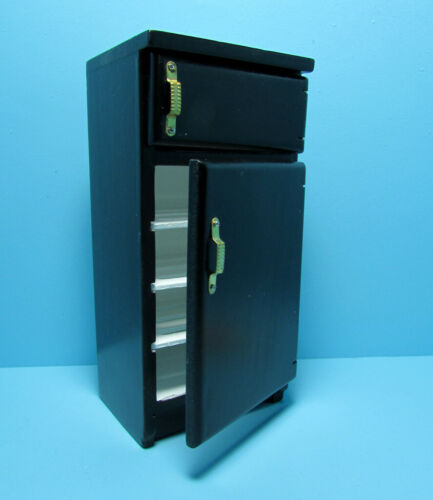 Dollhouse Miniature Kitchen Refrigerator with Freezer in Black ~ T5608