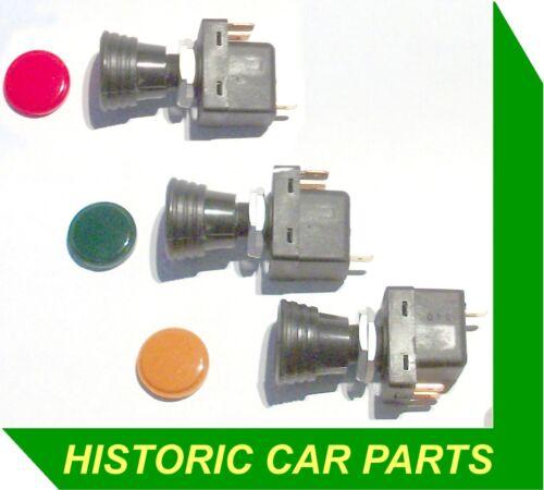 Rosso Ambra Verde illuminante Push Pull Switch 12v 10amp 6mm PICCHE HELLA