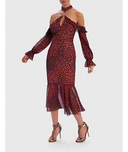 Forever-Unique-Roxanna-Rosso-Leopardato-Freddo-Spalla-Contrasto-Ruffle-Dress