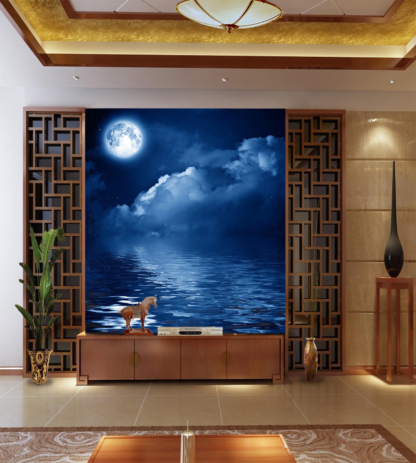 3D Nacht Mond Meer 55 Tapete Tapeten Mauer Foto Familie Tapete Wandgemälde DE