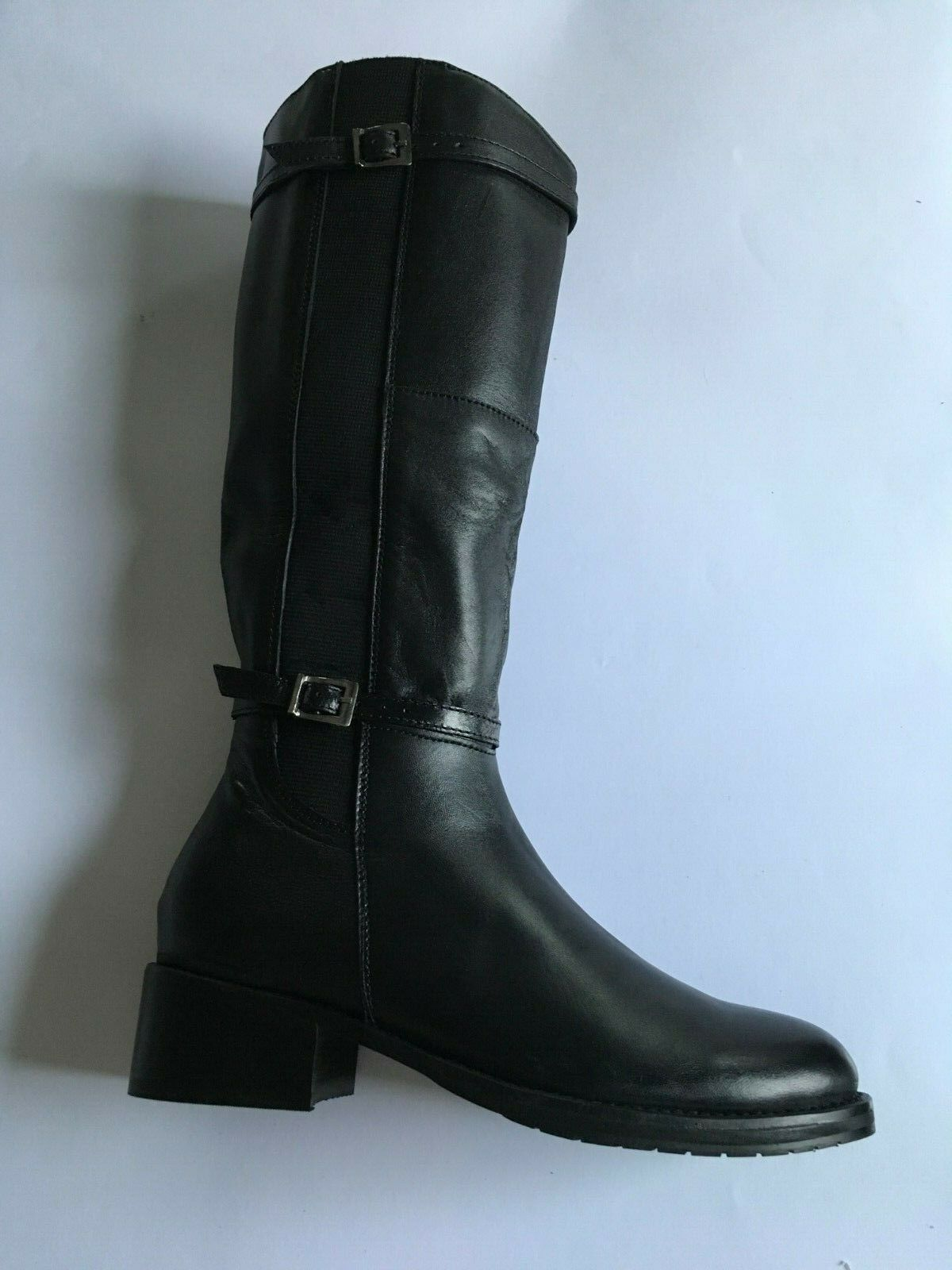 Womens Mod comfys L365A Black Riding Boots Tall Knee High Long Real Leather NEW
