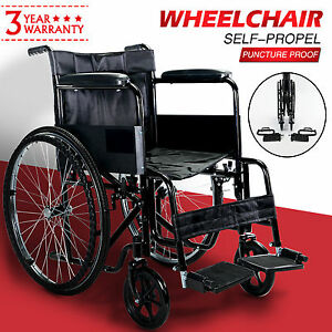Folding-Portable-Propelled-Puncture-Proof-Self-Propel-Wheelchair-With-Mag-Wheels