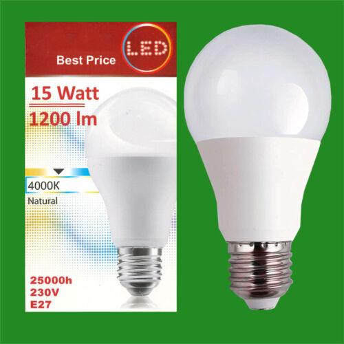 2x 15W LED GLS A65 ES Edison E27 4000K Natural Lamp Light Bulb 1200Lm