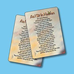 As I Sit In Heaven Memorial Poem 2 Verse Cards Sku 713 Ebay