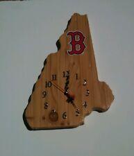 MLB Boston Red Sox New Hampshire shaped wood quartz wall clock with team logo