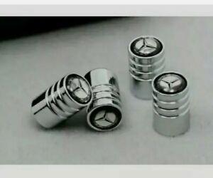 1x Set Metall Ventilkappen mit Mercedes-Benz Logo silber/Chrom Ventil Neu