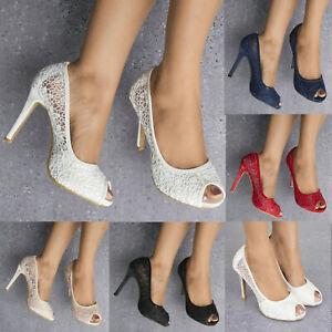 Femmes Dentelle Embelli Haut Talon Peep Toe Chaussures Escarpins Robe De Soirée Talons Hauts 3-8-afficher Le Titre D'origine
