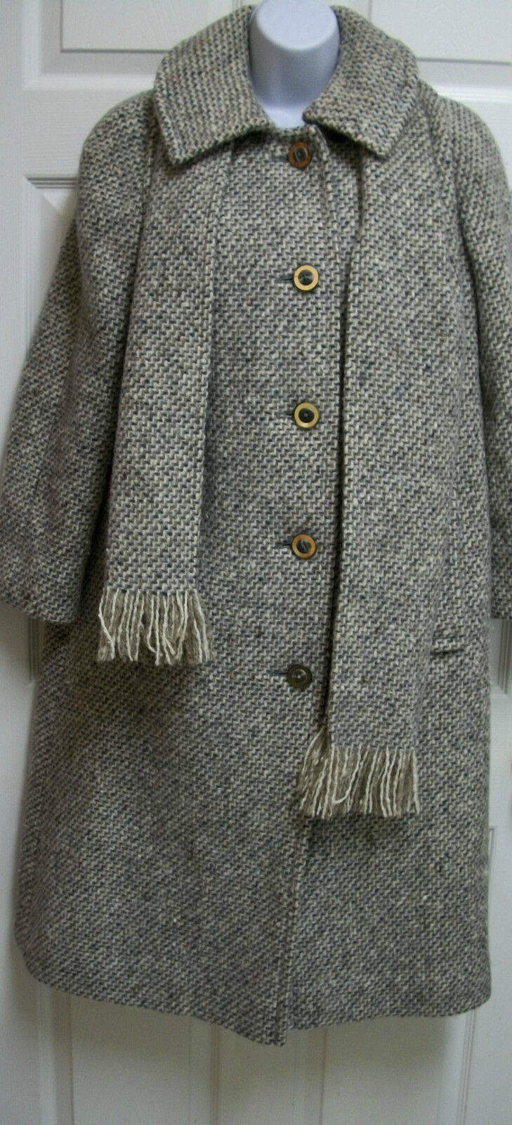 AQUASCUTUM GORGEOUS VINTAGE TWEED WOOL A-LINE DRESS COAT & FRINGED SCARF ENGLAND