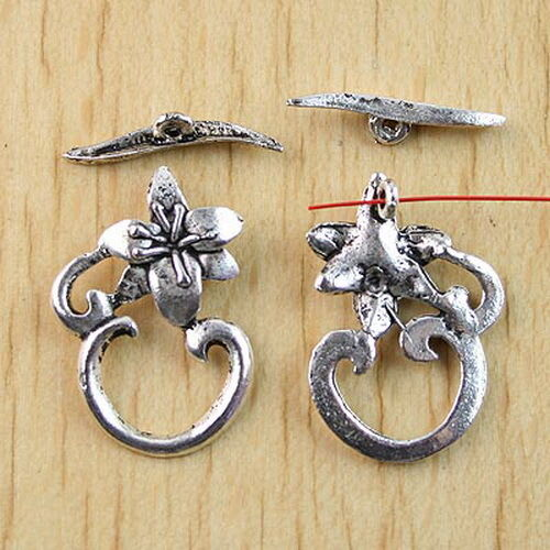 10sets Tibetan silver  FLOWER toggle clasps H0967