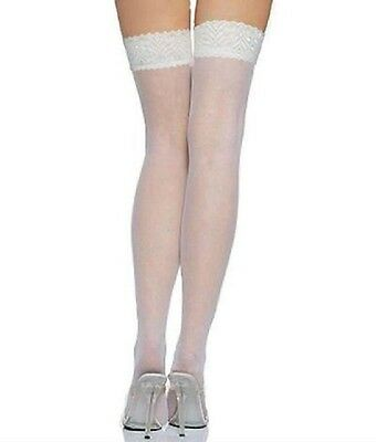 SEXY NEW WHITE LACE TOPPED STOCKINGS HOLD UPS - BRIDAL / WEDDING