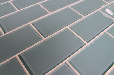 "Jasper Blue Gray 3"" x 6"" Glass Subway Tiles for Kitchen Backsplash/Bathroom"