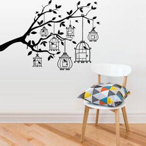 ik1403 Wall Decal Sticker bird cage tree branch bedroom living room