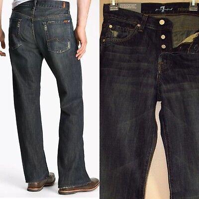 $189 Uomo Seven 7 Per Tutti Relaxed Straight Jeans Scuro Distress 28 29 Elaborato Finemente
