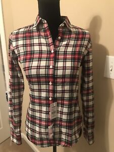 Brooks-Brothers-346-Women-039-s-Shirt-Size-0-Red-White-Blue-Green-Plaid