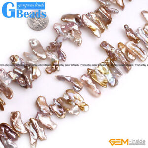 """Natural Top Drilled Coin Freshwater Keshi Pearls Stone Beads Jewelry Making 15/"""""""