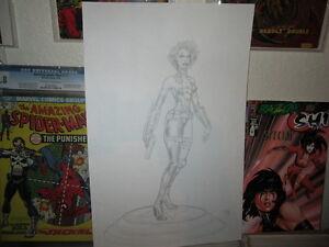 Razor-ORIGINAL-PENCIL-ART-Statue-Design-Character-Model-STUNNING-BAD-GIRL-PIN-UP