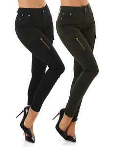 Jeans Ladies High Waist Skinny Jeans Trousers Cargo Jeans With Side Pockets